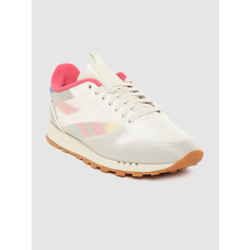 Reebok Classic Men White & Coral Pink Leather Sneakers