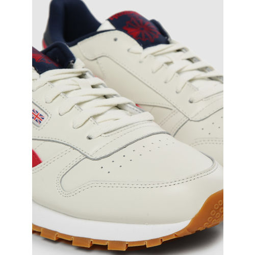 Reebok Classic Men Off-White Solid Leather Sneakers