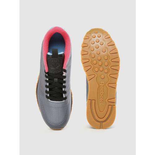 Reebok Classic Men Grey Textured Leather Sneakers