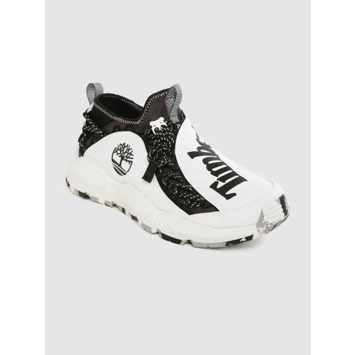 Timberland Men White & Black Printed Ripcord Fabric Sneakers