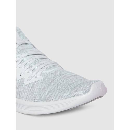 Puma Men White IGNITE Flash evoKNIT Running Shoes