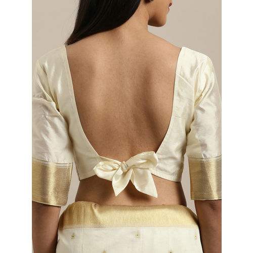 Kvsfab Cream-Coloured Woven Design Silk Blend Saree