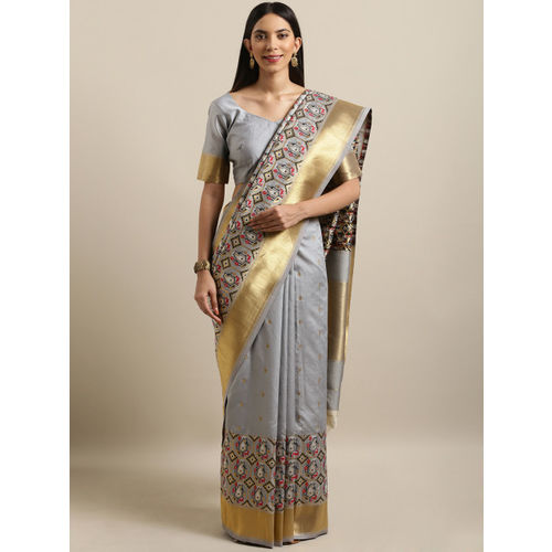 Kvsfab Grey & Gold-Toned Silk Blend Woven Design Saree