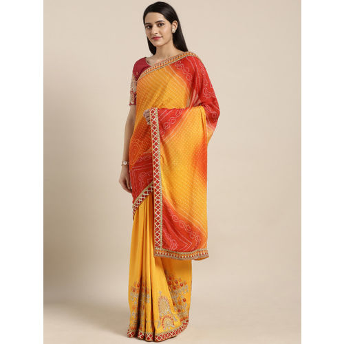 Kvsfab Red & Yellow Poly Georgette Printed Bandhani Saree
