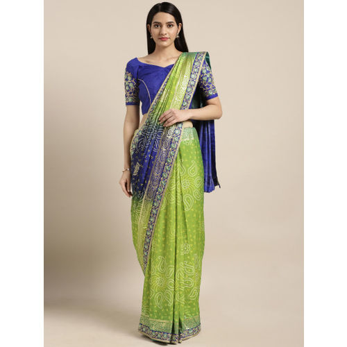 Kvsfab Green & Blue Poly Georgette Printed Bandhani Saree