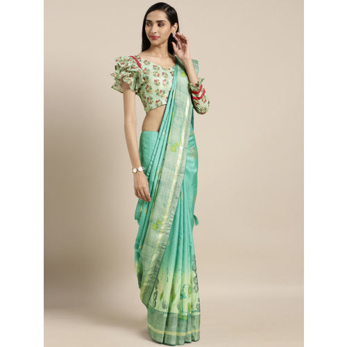 Kvsfab Sea Green Printed Silk Blend Saree