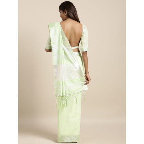 Kvsfab Light Green Solid Linen Blend Saree