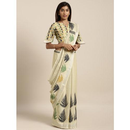 Kvsfab Beige & Green Linen Blend Printed Saree