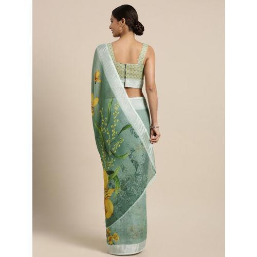 Kvsfab Green Printed Linen Blend Saree