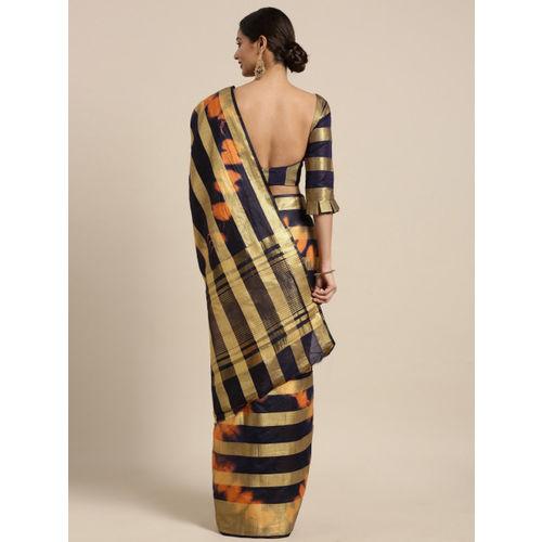 Kvsfab Multicoloured Woven Design Cotton Blend Saree