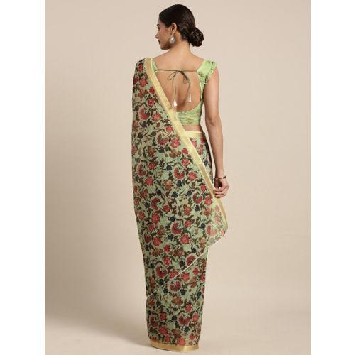 Kvsfab Green Printed Cotton Blend Saree