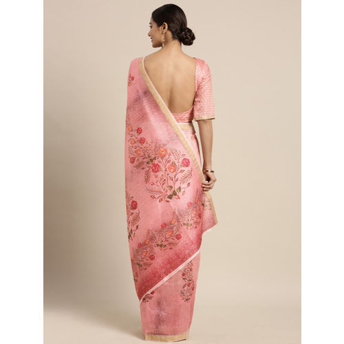 Kvsfab Pink Printed Linen Blend Saree