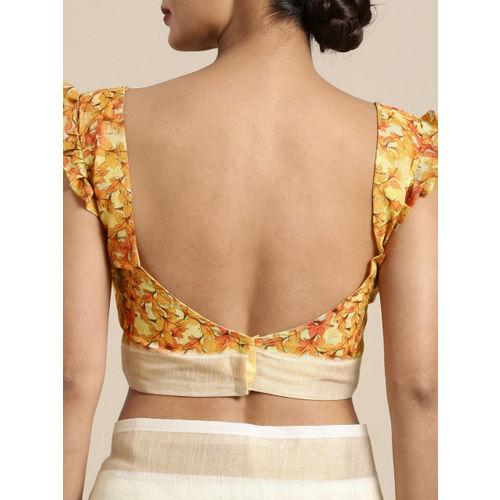 Kvsfab Multi- Coloured Printed Cotton Blend Saree