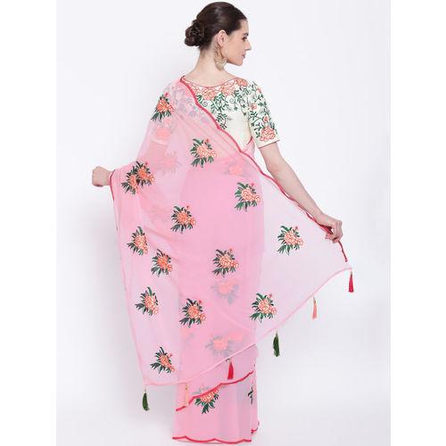 Kvsfab Pink Embroidered Poly Georgette Saree