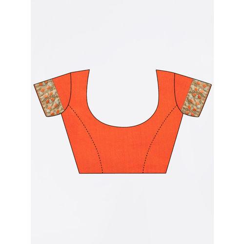 Kvsfab Orange Embroidered Saree