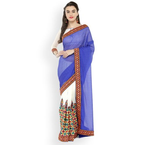 Kvsfab Blue & White Poly Georgette Embroidered Saree