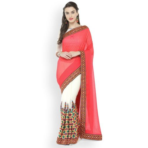 Kvsfab Pink & White Poly Georgette Embroidered Saree