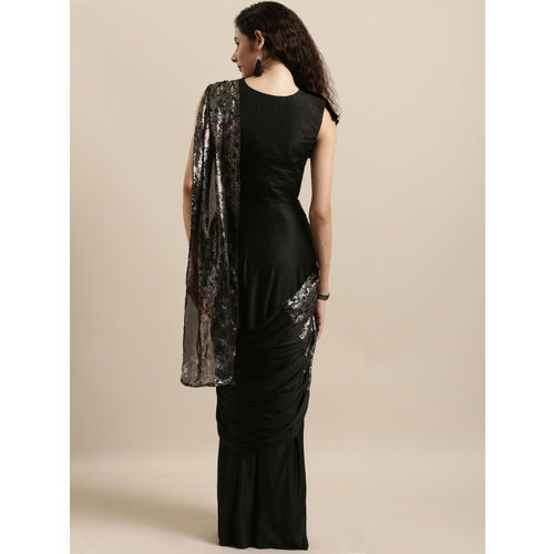 Tikhi Imli Black Solid Ready to Wear One Minute Poly Crepe Saree