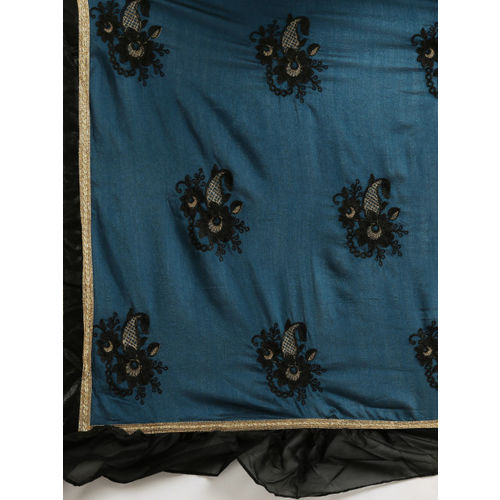 Tikhi Imli Teal Blue & Black Poly Crepe Embroidered Ruffled Saree