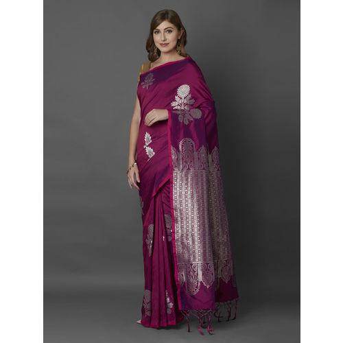 Mitera Magenta Silk Blend Woven Design Banarasi Saree