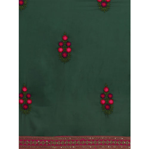 Sugathari Green Embroidered Poly Georgette Saree