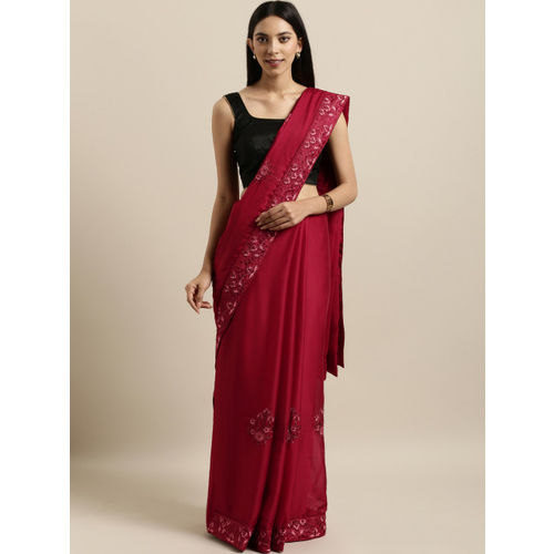 Kalista Maroon Embroidered Poly Georgette Saree