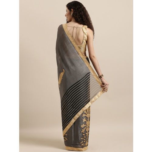 Tikhi Imli Grey Printed Jute Cotton Saree