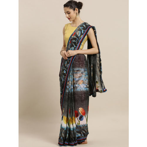 Indian Women Grey Printed Poly Georgette Saree