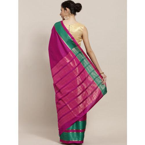 Sugathari Pink & Green Art Silk Solid Saree