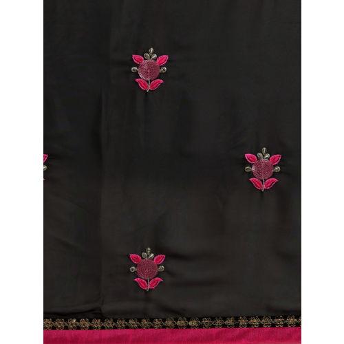 Sugathari Black Embroidered Poly Georgette Saree