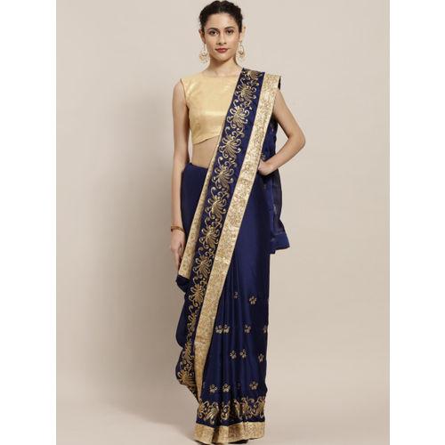 Sugathari Navy Blue & Golden Pure Chiffon Embroidered Saree