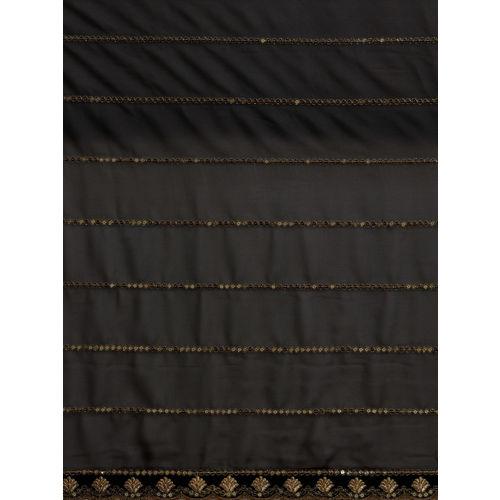 Sugathari Black & Golden Embroidered Poly Georgette Saree