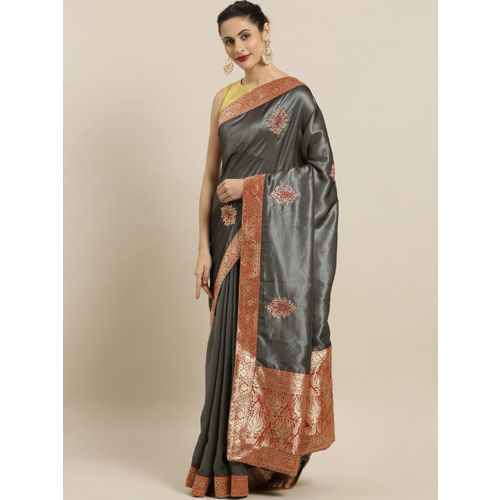Indian Women Grey & Red Embroidered Poly Silk Saree