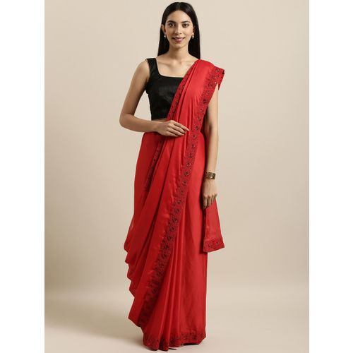 Kalista Red Solid Poly Georgette Saree