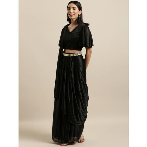 Tikhi Imli Black Solid Poly Crepe Saree