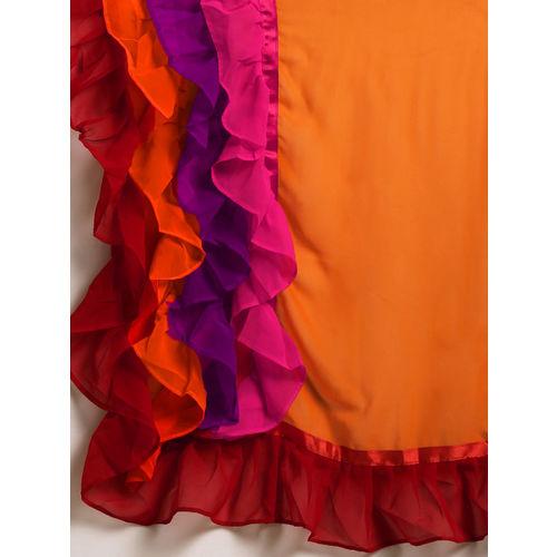 Tikhi Imli Orange Solid Poly Georgette Ruffle Saree