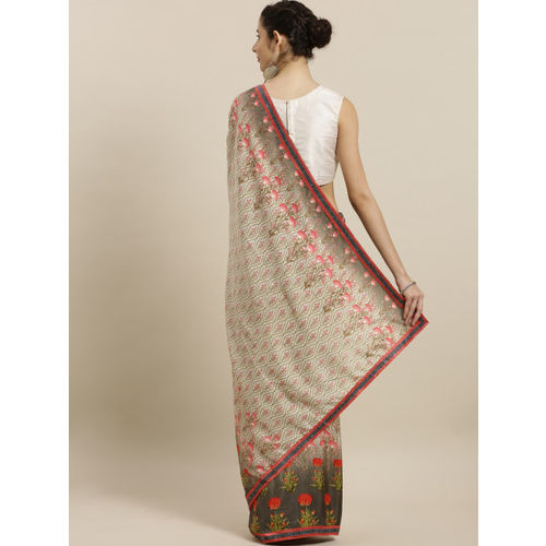 Indian Women Brown Printed Poly Georgette Saree