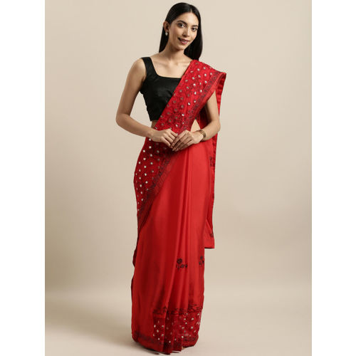 Kalista Red Embroidered Poly Georgette Saree