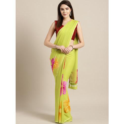 Ishin Green & Pink Printed Saree