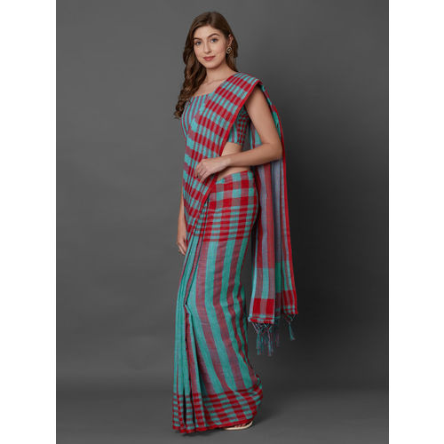 Mitera Teal Green & Red Linen Blend Striped Saree