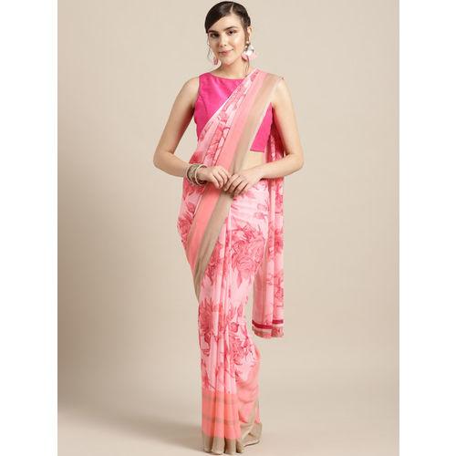 Ishin Pink Printed Saree