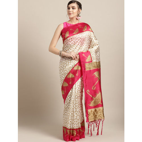 Ishin Off-White & Golden Printed Mysore Silk Saree
