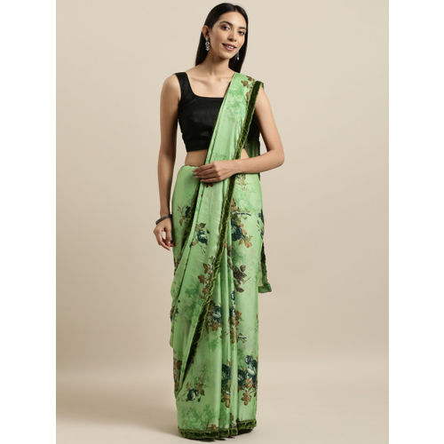 Tikhi Imli Green Printed Poly Crepe Saree