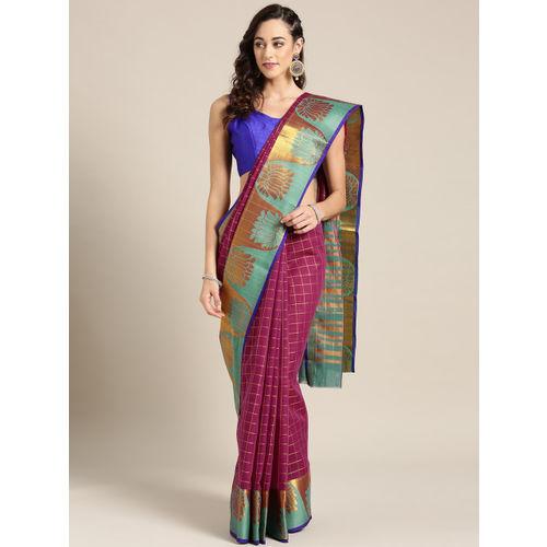 Ishin Purple & Golden Checked Chanderi Saree