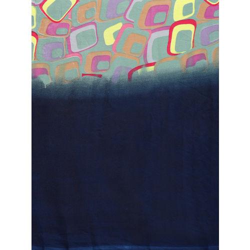 Ishin Navy Blue & Green Printed Saree