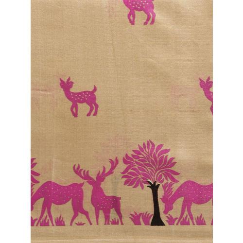 Satrani Beige & Pink Art Silk Printed Saree