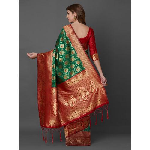 Mitera Green Silk Blend Woven Design Banarasi Saree