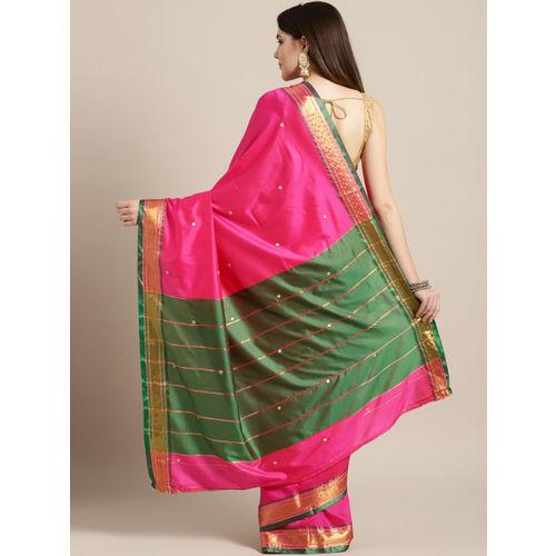 Ishin Fuchsia Pink Woven Design Mysore Silk Saree