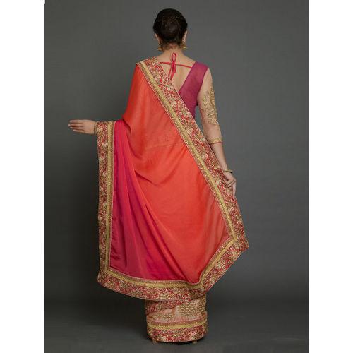 Mitera Pink Embroidered Pure Georgette Saree