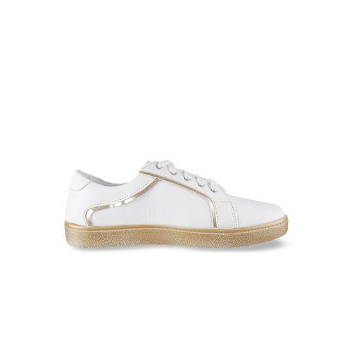 Metro Women White & Gold-Toned Sneakers